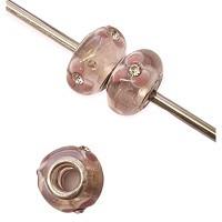 Pandora style Rose mit Strass steinchen