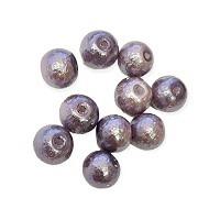 Glasperle lila mit Struktur Perlenschimmer 8mm 20 Stück